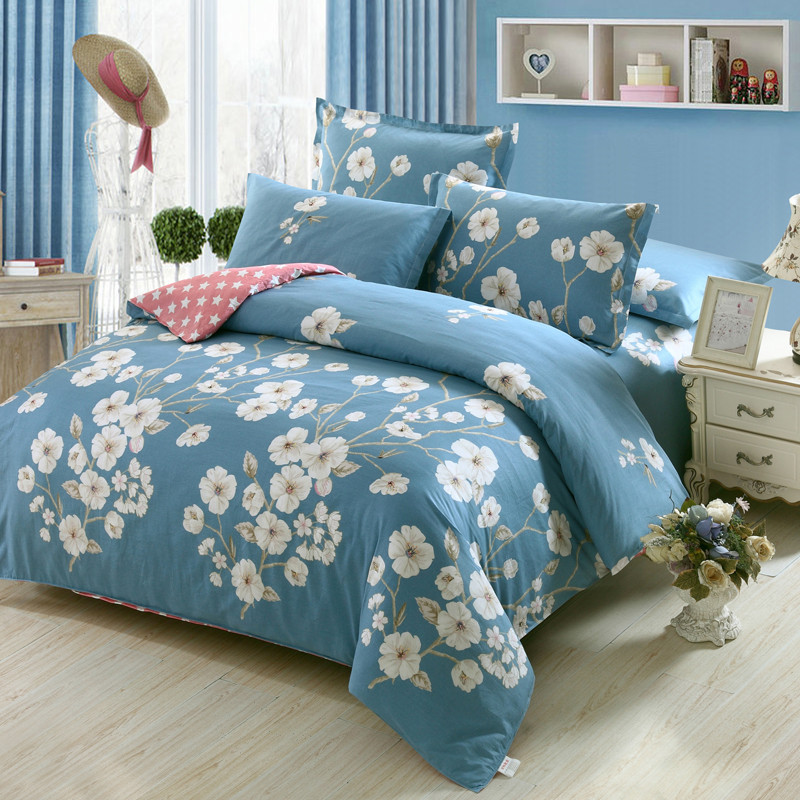 fresh flowers white blue twin full queen king size bedding sets egyptian cotton bedlinens duvet. Black Bedroom Furniture Sets. Home Design Ideas