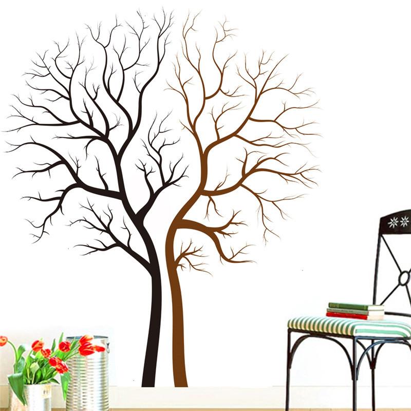 paar baum wandaufkleber fr wohnzimmer diy vinyl familie baum wandtattoo tapete aufkleber dekoration vinilos paredes heier - Dekoration Baum
