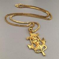 18K Gold Plated Jesus Piece Charm Anchor Pendant Necklace Hip Hop Sideways Cross Charm Jesus Christ