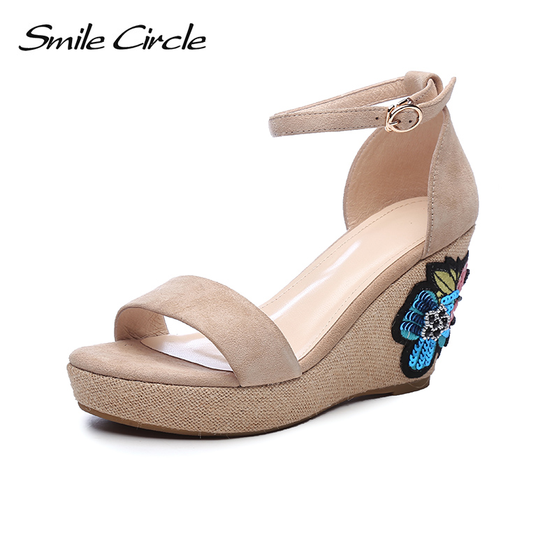 Smile Circle 2018 Summer Sandals Women Wedges Fashion Flowers Flat wedges Thick bottom High heel 8CM Shoes Woman Sandals xiuningyan horsehair sandals women flat heel sandals fashion summer low heel shoes woman sandals summer plus size free shipping