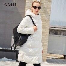 Amii минималистский 2017 Зима Для женщин теплая плотная света 90% белая утка с длинными рукавами Подпушка пальто карман с Толстовки