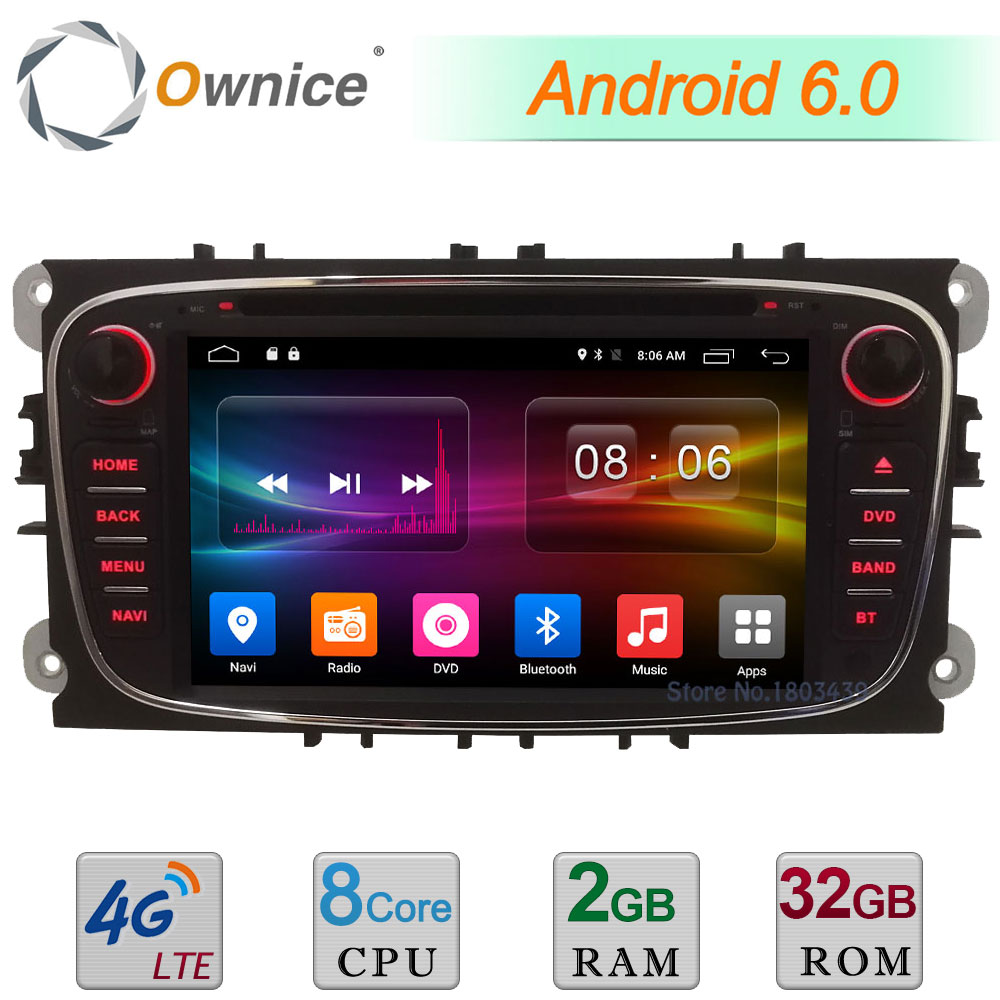 2GB+32GB Android 6.0 Octa Core 4G DAB Car DVD Player For Ford Focus Mondeo S-max Galaxy Tourneo Transit Connect GPS Navigation