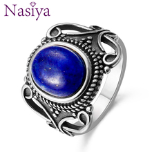Nasiya Antique Sillver Rings Type 8x10MM Oval Lapis For Women Sterling 925 Silver Ring for Mothers Gift Fine Jewelry