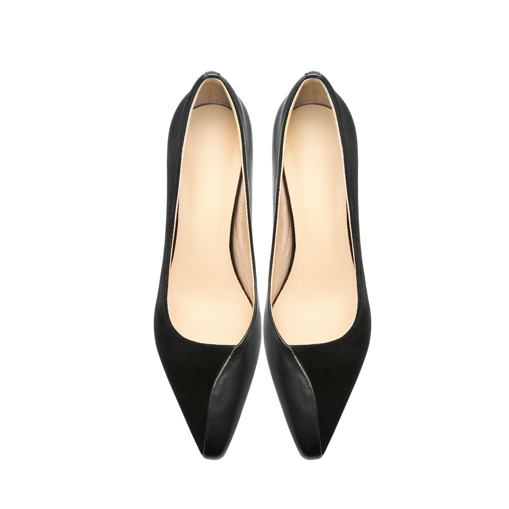 7 cm Strange High Heels Full Genuine leather Pumps Fashion Work Office Ladies Shoes Wood grain Triangle Apricot MMS01 MUYISEXI