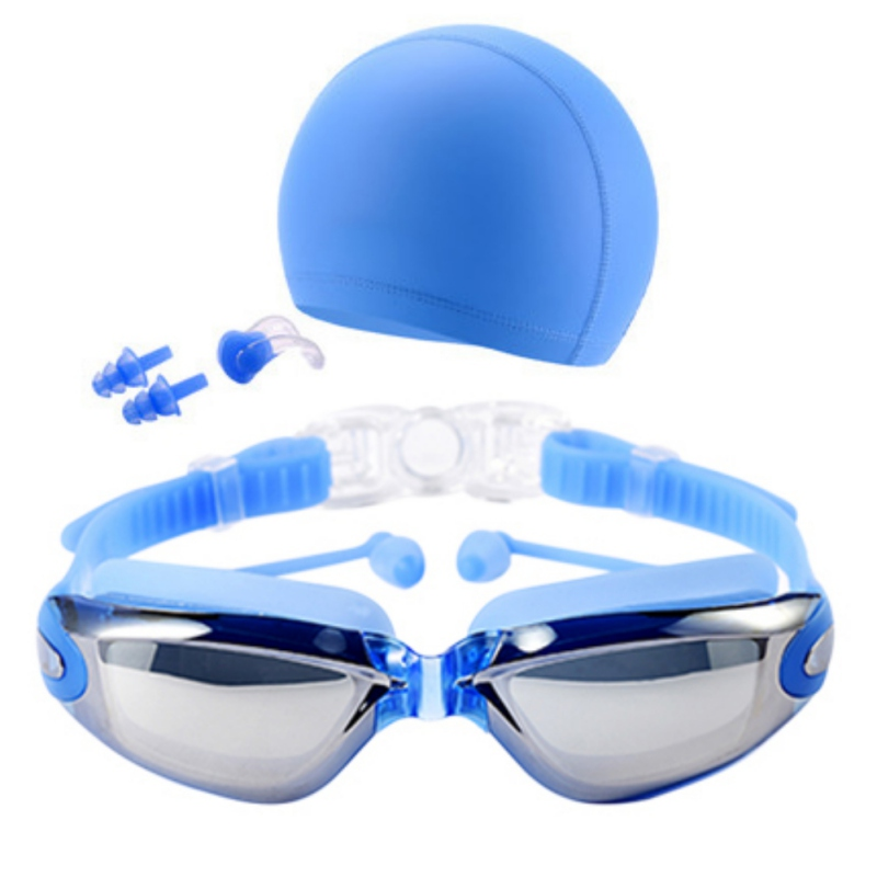 Swimming Goggles Kit Men High Definition Waterproof Anti-fog Glasses Large Frame Lens Eyewear With Swim Hat Ear Plug Nose Clip цена