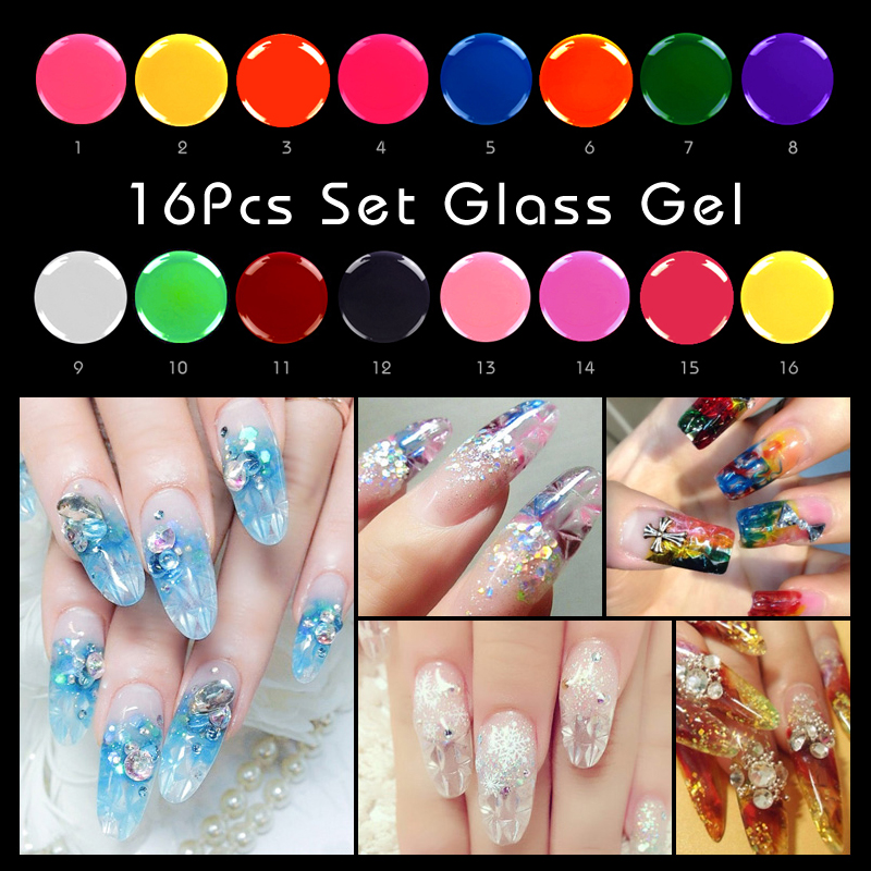 16Pcs Glass Gel Set Translucent Enamel Nail Polish Gel LED&UV Gel Soak Off Glass Mirror Gel Special Nail Art Manicure Tools DIY16Pcs Glass Gel Set Translucent Enamel Nail Polish Gel LED&UV Gel Soak Off Glass Mirror Gel Special Nail Art Manicure Tools DIY