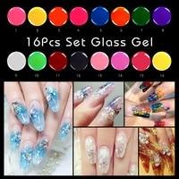 16Pcs Glass Gel Set Translucent Enamel Nail Polish Gel LED&UV Gel Soak Off Glass Mirror Gel Special Nail Art Manicure Tools DIY