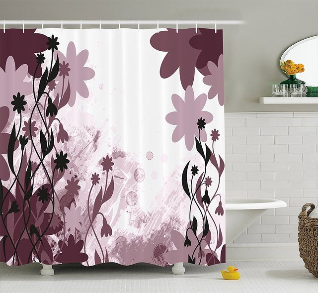 Memory Home Floral Shower Curtain Daisy Garden Flowers Leaves Background Art Fabric Bathroom Decor Plum Light