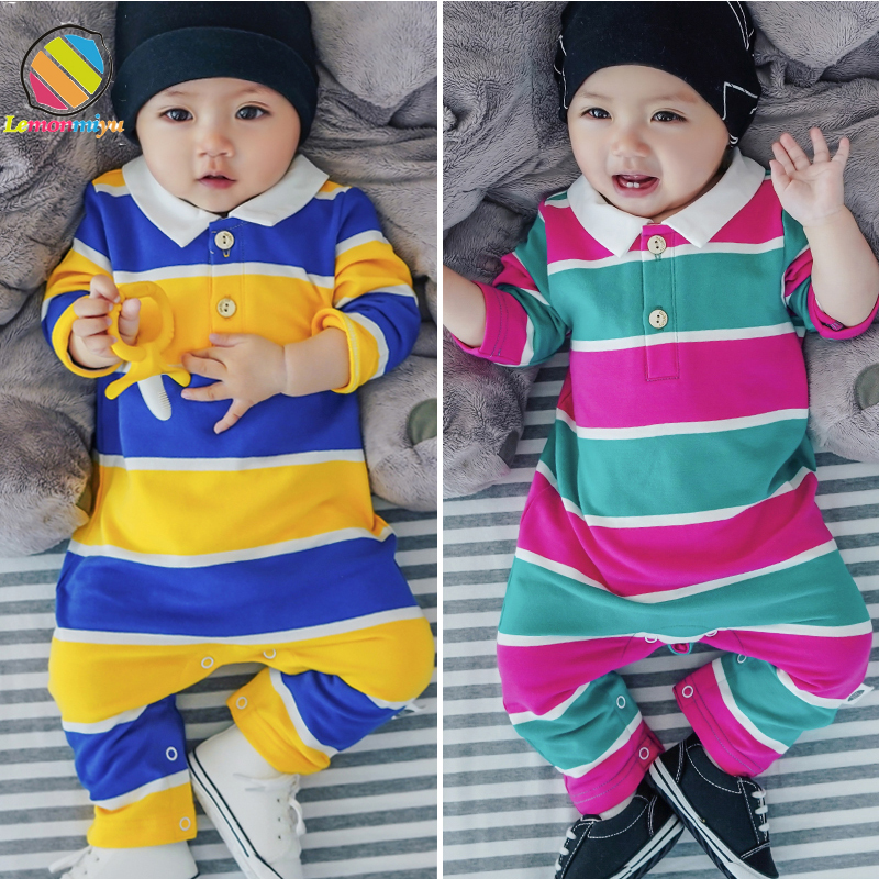 Lemonmiyu Toddler Baby   Rompers   Cotton Long Sleeve Spring Autumn Outwear Clothes Strped Newborn 0-3T Pullover Overalls Jumpsuits