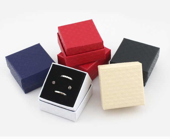 Paquete de joyas cuadradas, caja de anillos, regalo de boda, caja de papel de embalaje, Exhibidor de joyas, regalo del Día de San Valentín, 5*5*3,5 cm