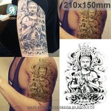 Body Art Waterproof Temporary Tatoos For Men Boy Buddha Sketch Design Large Flash Tattoo Sticker LC2823