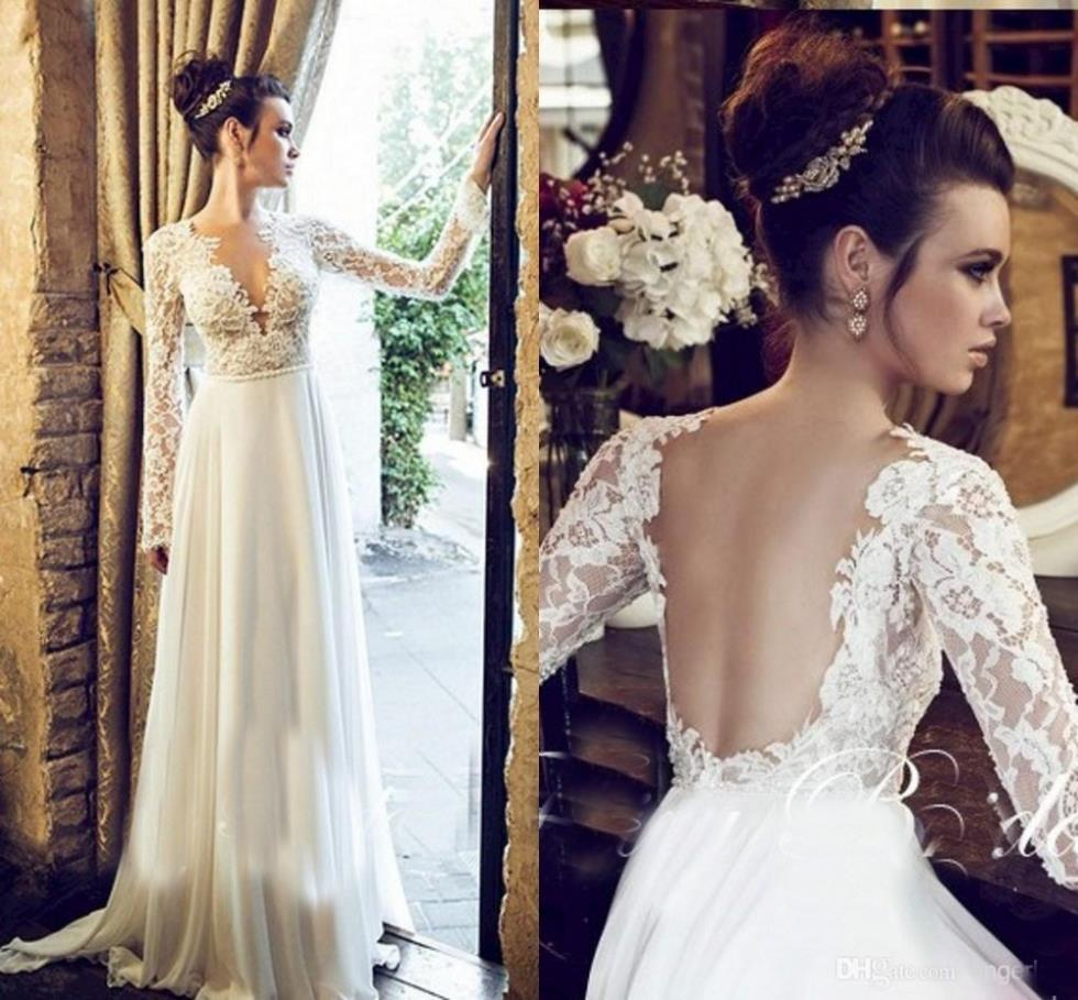 V Neck A Line Wedding Dresses Lace Illusion Long Sleeves