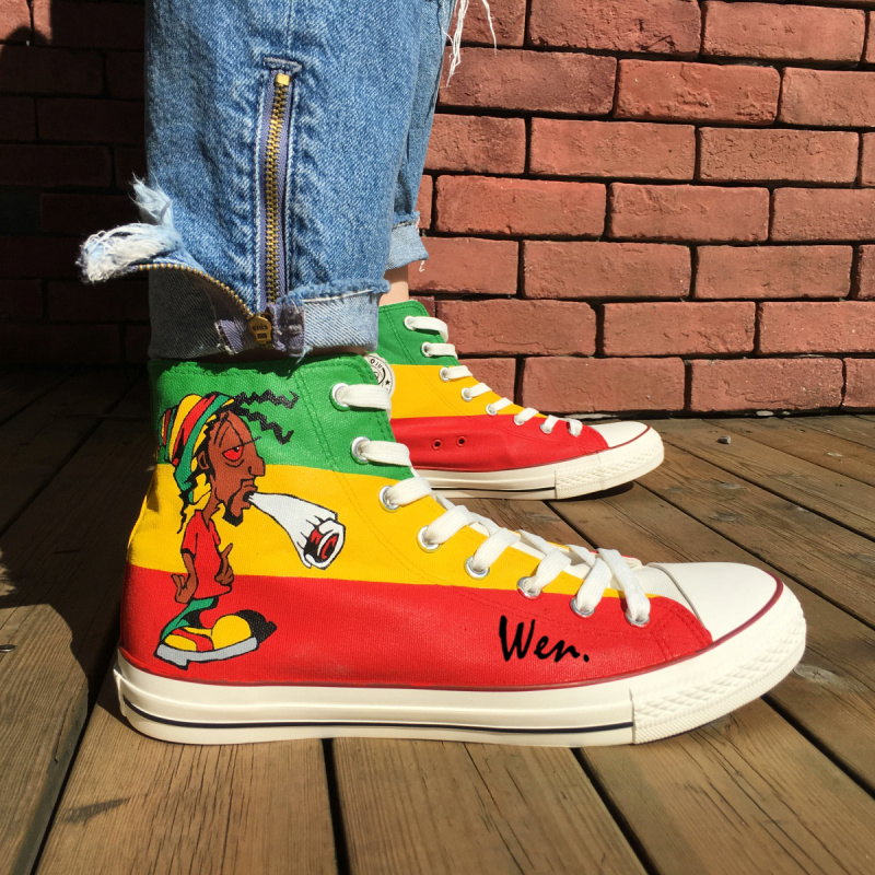 Wen Hand Painted Shoes Design Custom Reggae Man Woman's High Top Canvas Sneakers Birthday Christmas Gifts