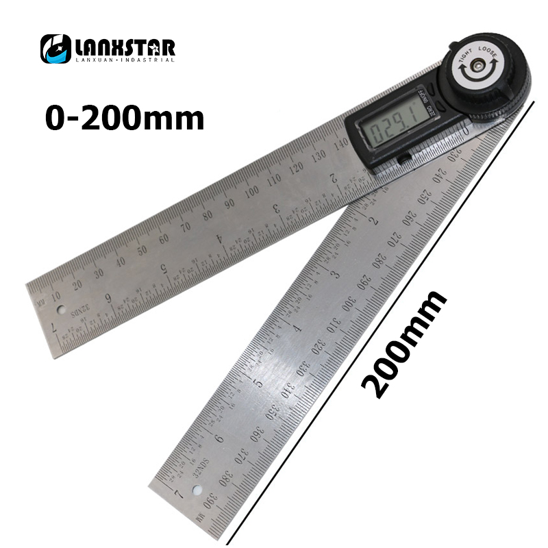 Digital Display 200mm Angle Gauge Stainless Steel Angle-protractor Square High Precision Angulometer Universal Angle-ruler kapro high precision movable angle woodworking tools universal horizontal line t shaped angle ruler a protractor