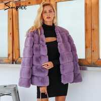 Simplee 2019 plus size women fluffy faux fur coat Elegant thick warm outwear jacket coat Autumn winter casual party overcoat