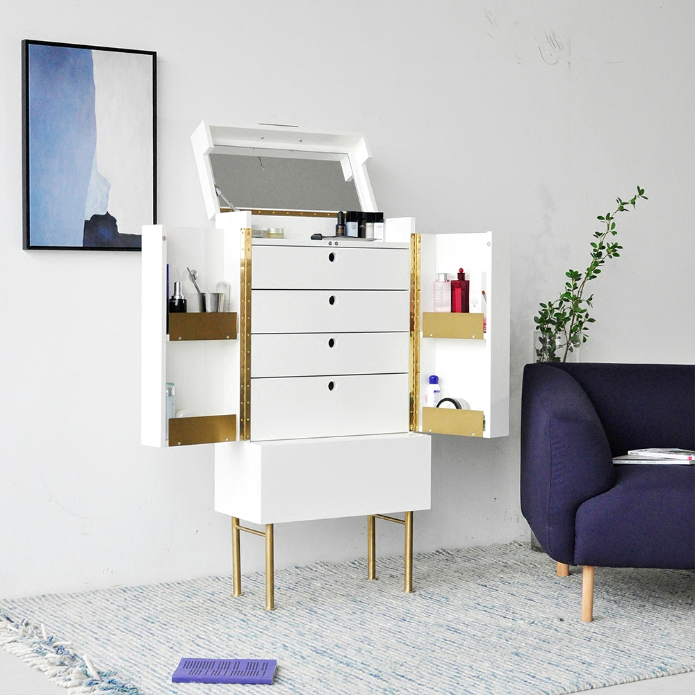 Captivating [InYard Original] Standing Cosmetic Cabinet / Bedside Multifunctional  Storage Cabinet Mirror Nordic Makeup Platform In Dressers From Furniture On  ...