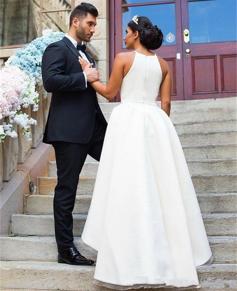 SoDigne Simple Bride Dress 2019 Spring Summer Wedding Dresses Sleeveless Halter Back Zipper Wedding Gowns in Wedding Dresses from Weddings Events