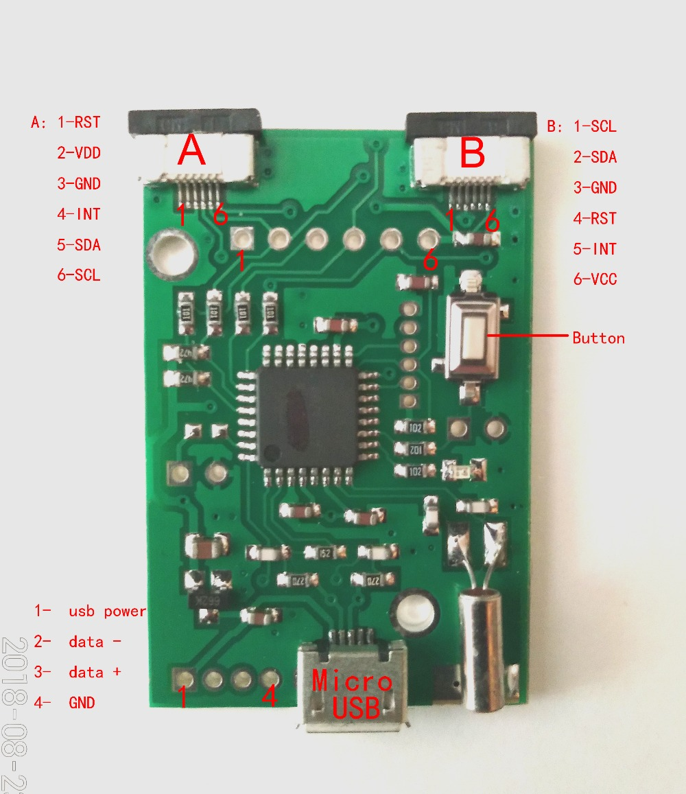 Capacitive touch controller I2C TO USB controller GT911 GT928 GT9271 FT5X06 CT363 Support Android Phone Raspberry