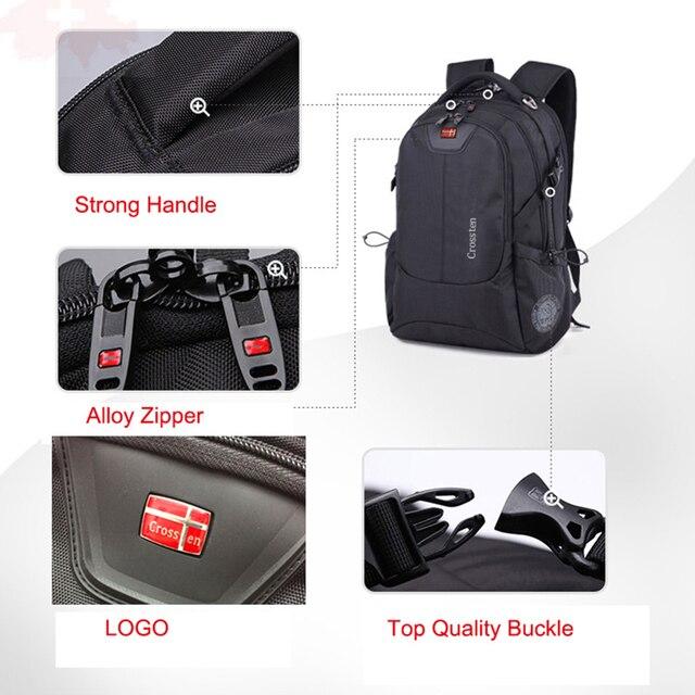 Crossten Swiss Multifunctional External USB Charge Port Laptop Bag Waterproof 16 4