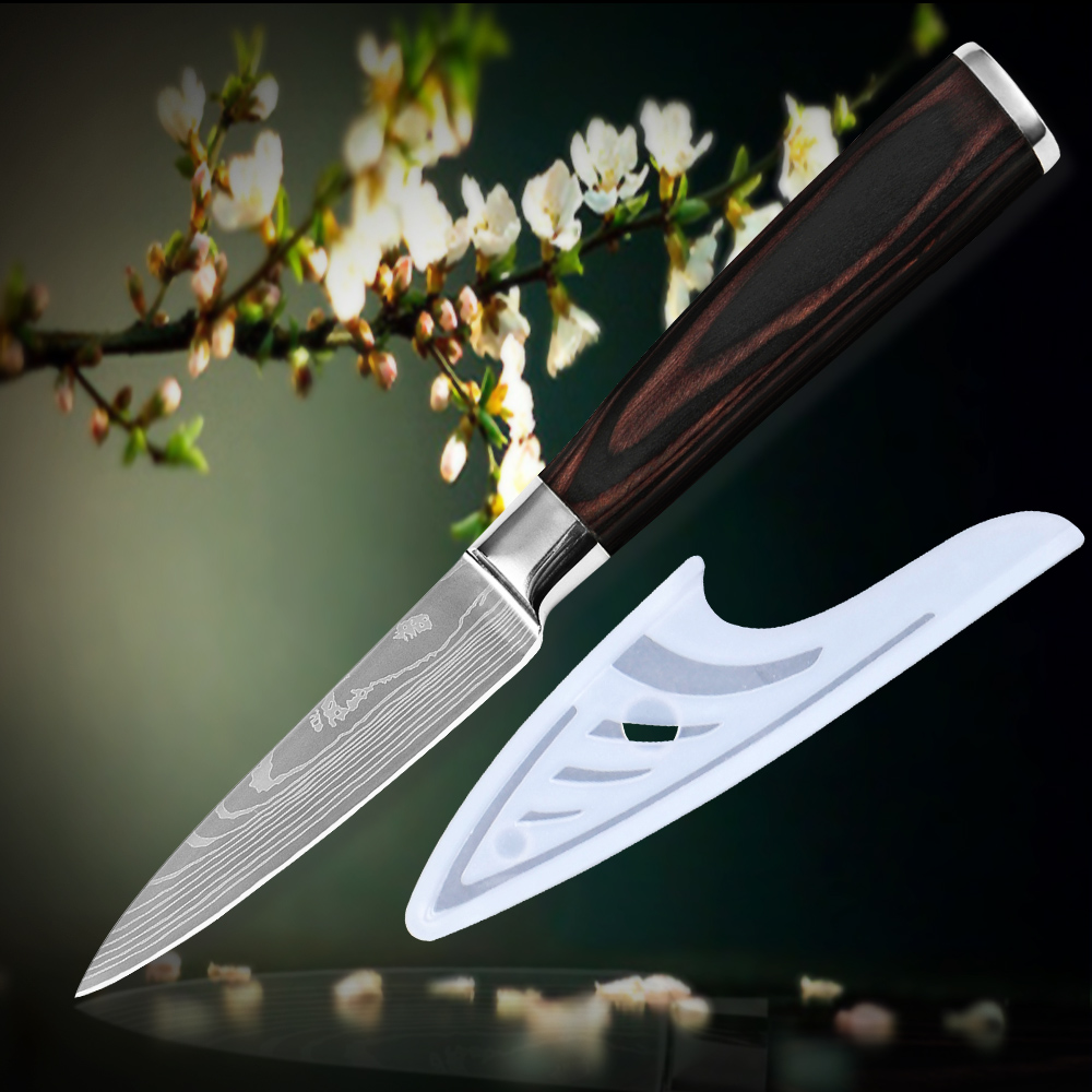 3 5 inch paring knife kitchen knife 7CR17 stainless steel Damascus veins kitchenware color wood handle