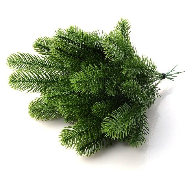 10 pçs flor artificial falso plantas verdes ramos de pinho árvore de natal para anos novos festa de natal árvore de natal decorações diy