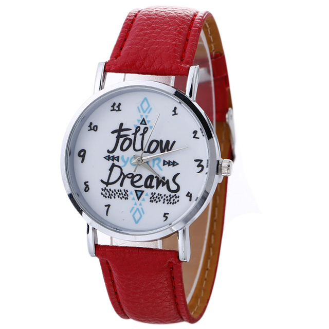 Aimecor Fashion Women Watch Follow Your Dream Neutral Letter Pattern Leather Ana