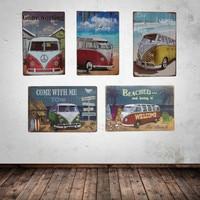 Приморский любовь пляж Volkswagen автобус металлическая дощечка с надписью фотография пляж Винтажный стиль знак