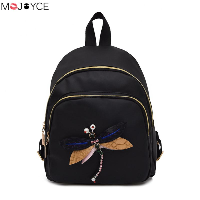 Mojoyce Embroidery Dragonfly Lady Backpack New Handmade Fashion 3d Diamond Shoulder Bag Retro Female Bag For Women 2018