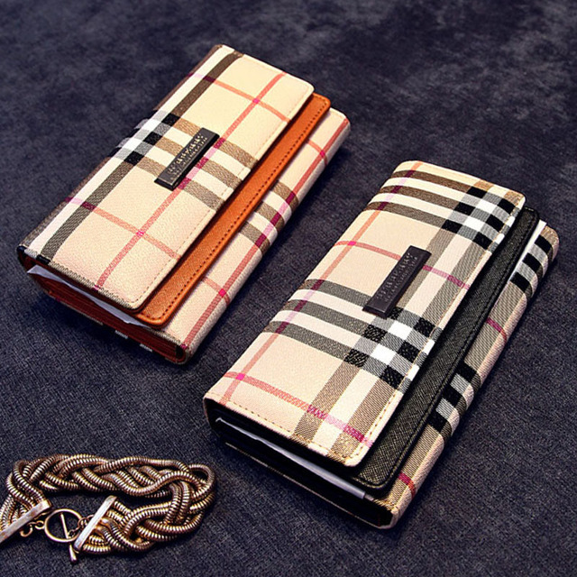 Brand Designer Women Wallets Female Plaid Clutch Bags Long Card Holder Coin Purses Three Fold Wallet Phone Bag Carteiras Mujer