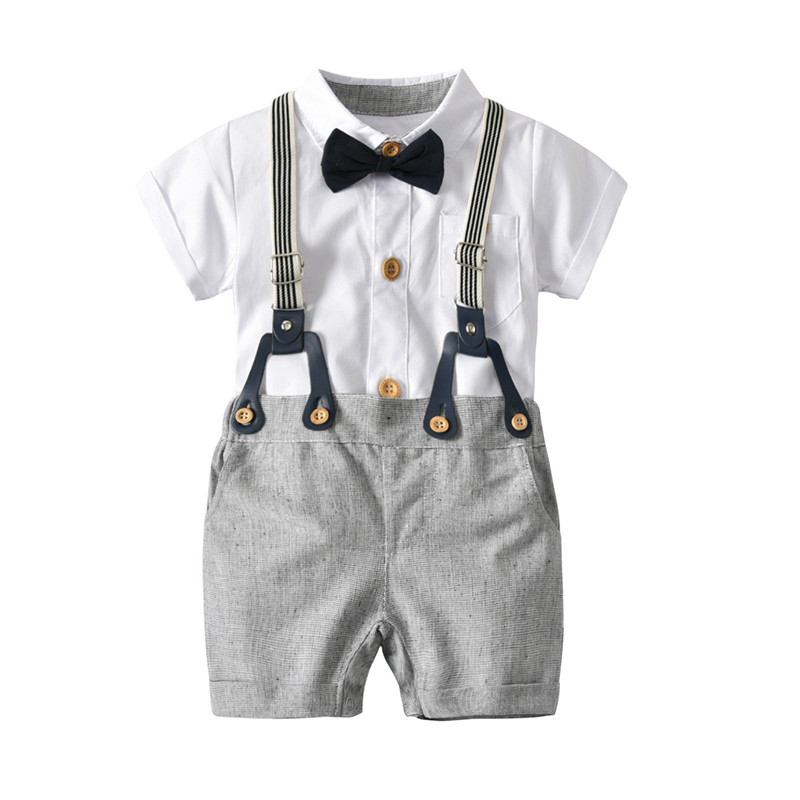 DFXD Newborn Boys Clothing Set 2018 New Fashion Summer Cotton White Short Sleeve Bow Tie Romper+Overall 2pc Infant Boys Outfits