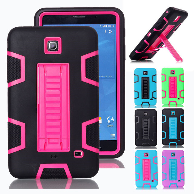 promo code eb681 07549 US $18.56  For Samsung Galaxy Tab 4 7.0 T230 Silicone Case 3 in 1 Hard  Plastic+Rubber Cover For Tab 4 7 inch Tablet Case with Kickstand-in Tablets  & ...