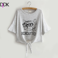 Women Summer Hot Tops Cute Korean Style Tees Grey Striped Cat Printed Knotted Short Sleeve Round