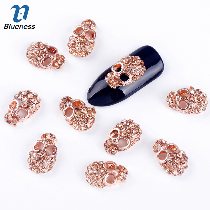 10 Pcs/Lot Manicure Rose Gold Alloy Rhinestones Skull For Nails Strass Halloween Skeleton Charms 3D Nail Art Decorations TN863 super shiny mine gold silver strass nail art rhinestones for nails accessoires manicure decorations 3d diy nail stickers hotfix