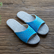 2019 new Linen slippers summer thick bottom anti-skid beef tendons at the end of slippers couple home with indoor floor cooler s