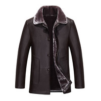 2016 New Winter Men S Turn Down Fur Collar Thick Flleece Leather Coat Single Breasted Sheep