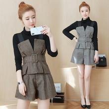 new autumn winter long sleeve black shirt base belt strap vest shorts  lady suit three-piece korean fashion clothing set design
