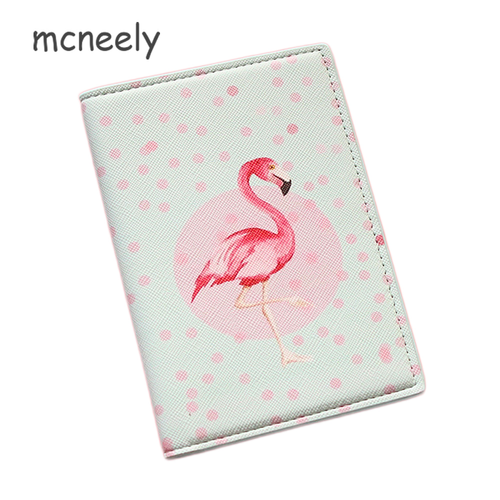 Mcneely Elegant Flamingo Printing Passport Holder Women PU Leather Card Holder Travel Passport Cover Credit Card Case 15 Colors