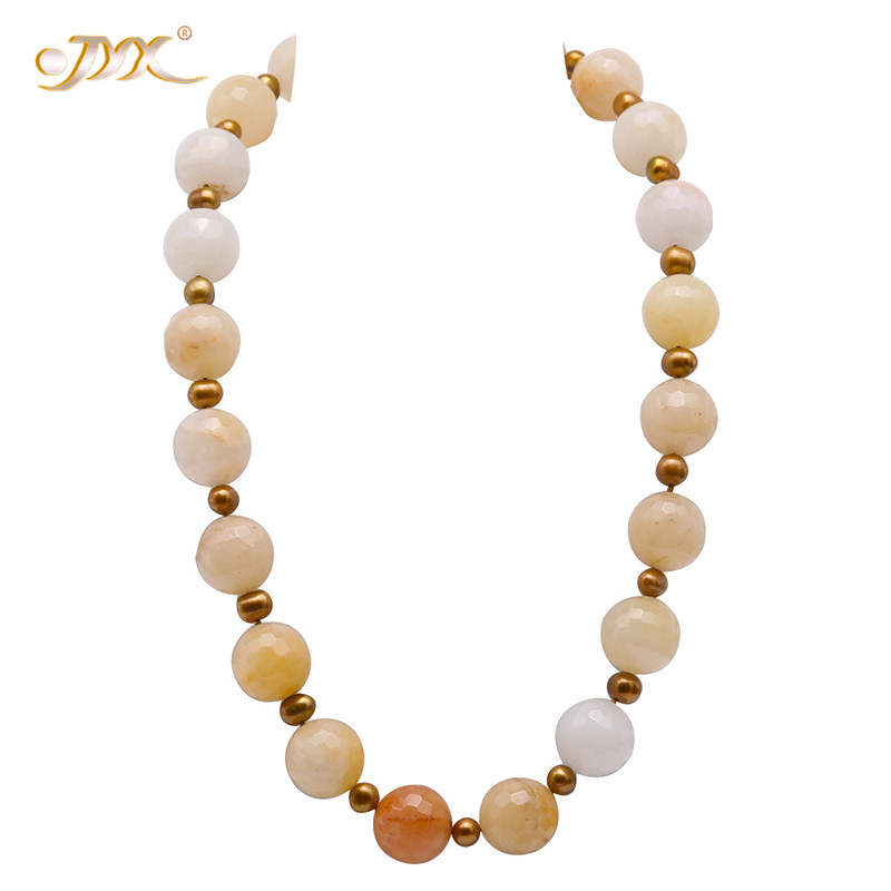 JYX 2019 Pearl Necklace 19.5mm Faceted Round Yellow Jade Stone with 9mm Champagne Pearl Gemstone Necklace 23.5