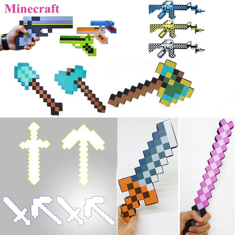 1 יחידות Minecraft נשק צעצועי Minecraft קצף יהלומי לקחת חרב גרזן האת אקדח EVA פעולה איור דגם צעצוע לילדים ילדי מתנות