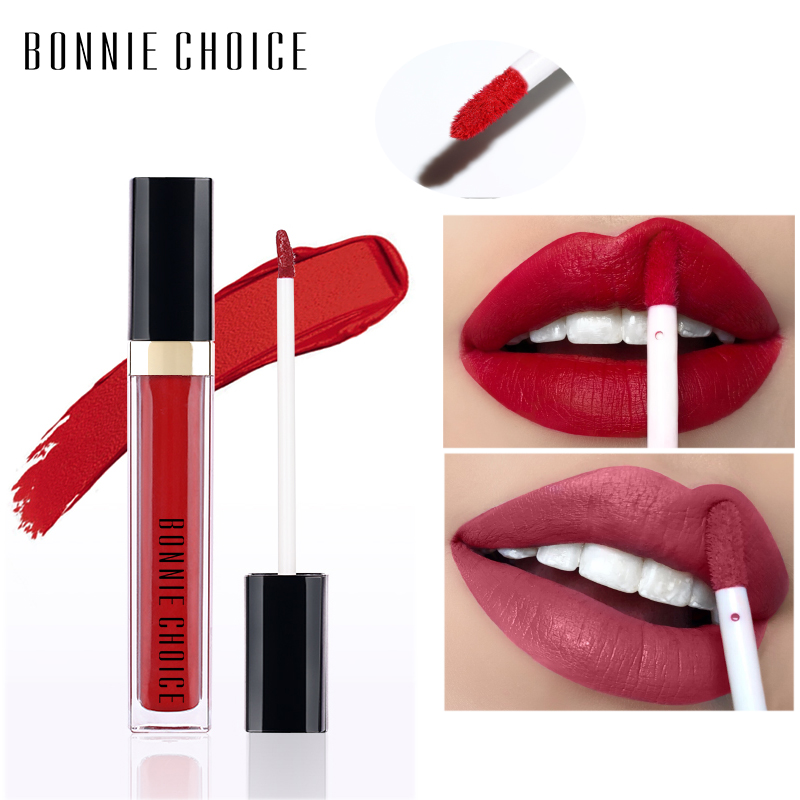 BONNIE CHOICE Matte Lip Gloss Liquid Lipstick Waterproof Moisturizer Smooth Stick Long Lasting Red Color Tint Makeup