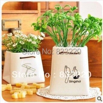Free Shipping Pure White Flower Pots Planters Upside Down Plant Pot