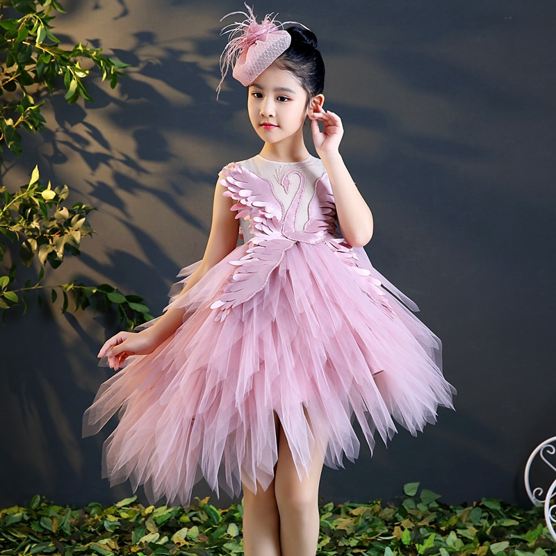 Pink Swan First Holy Communion Dress Stunning Kids Pageant Dress for Birthday Party Beading Ball Gown Flower Girl Dresses K56 цена