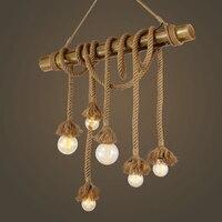 Настенный декор подвесной светильник в стиле ретро пеньковая веревка Эдисон подвесной светильник светодиодный 3 6 головок Подвеска для Бар