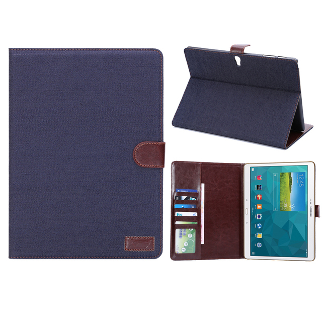 Case for samsung galaxy tab S 10.5 T800 T805, hard PC back + jeans cloth cover with flip wallet auto wake for SM-T800 SM-T805
