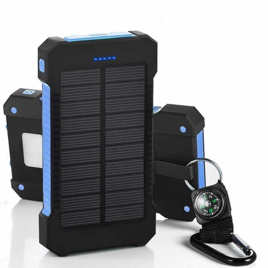 Powerbank na energię słoneczną wodoodporna 30000 mAh bateria słoneczna do ładowania 2 porty USB zewnętrzna ładowarka Powerbank dla smartfona Xiaomi z oświetleniem LED