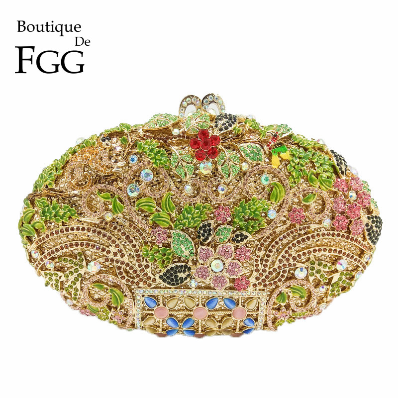 Boutique De FGG Multi Color Crystal Flower Evening Clutch Purse Women Gold Metal Minaudiere Clutches Bag Wedding Party Handbag