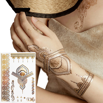 Boho Floral Temporary Metallic Tattoos  Gold Silver Metallic Colors (1 Sheets)