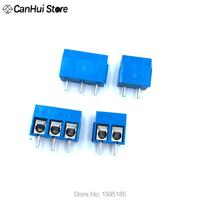 "20 PCS/LOT KF301-2P ""+"" vis 2Pin KF301-3P ""-"" vis 3Pin 5.0mm broche droite PCB vis bornier connecteur bleu KF301 2.54"