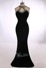 2015 neue Design Meerjungfrau Scoop Kristall Sleeveless Backless Bodenlangen Chiffon Vestidos Formal Abendkleid Abendkleid
