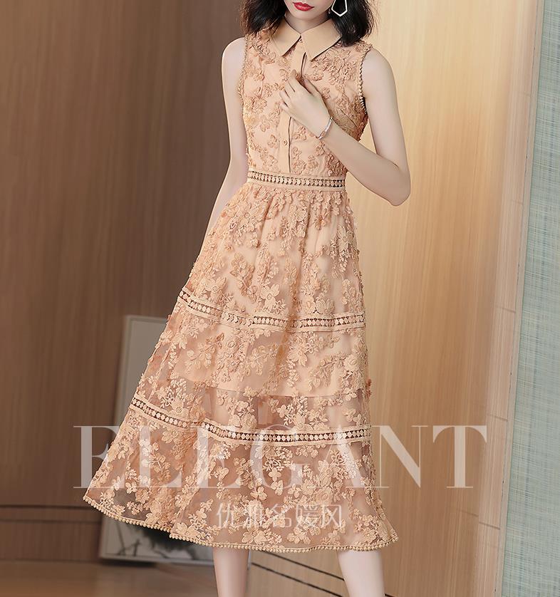Shirt dress in the long temperament 2019 new summer sleeveless embroidery mesh gauze skirt